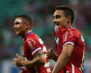 Edigar Junio festeja gol pelo Bahia em vitória na Copa do Nordeste e agradece torcedores tricolores