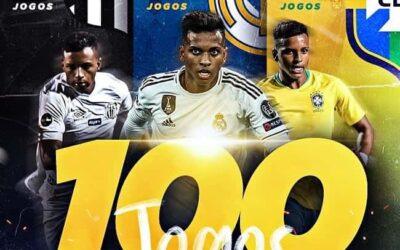 Rodrygo completa 100 partidas como profissional