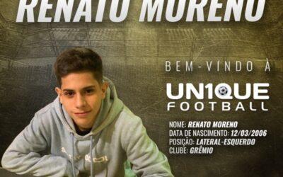Renato Moreno, lateral-esquerdo do Grêmio Sub-14, é o novo cliente da Un1que Football