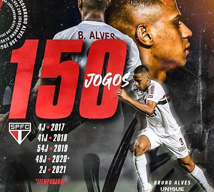 Zagueiro Bruno Alves completa 150 partidas pelo São Paulo com goleada
