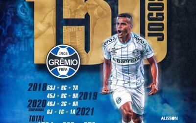 Meia-atacante Alisson completa 150 partidas pelo Grêmio